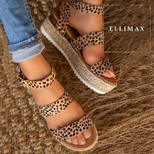 NEW Cheetah Open Toe Espadrille Sandal Ankle Strap